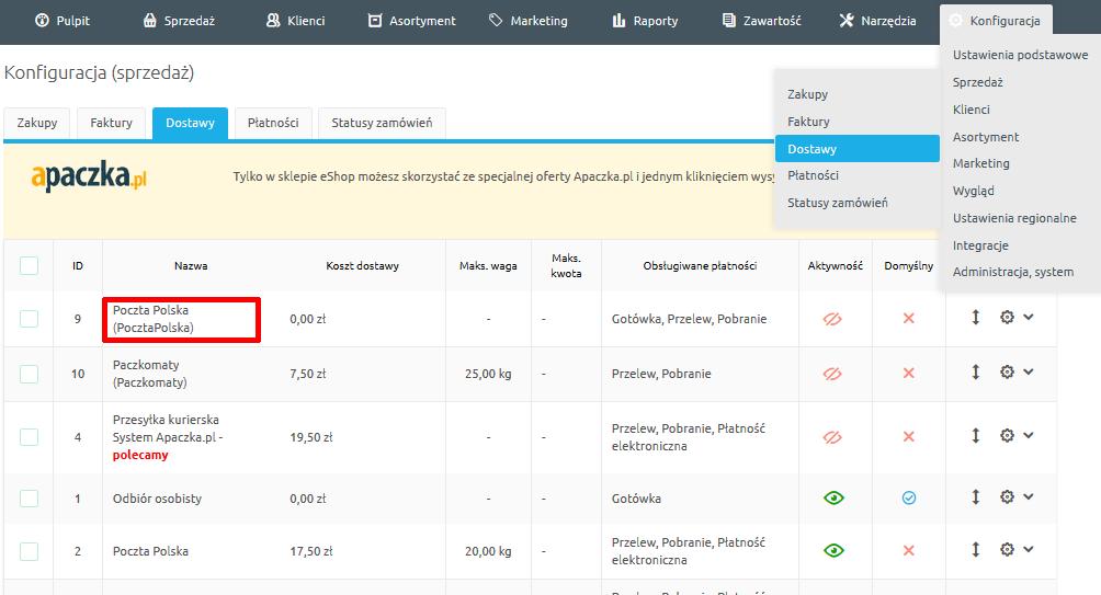 3c2c983c6ae842 Przejdź do Konfiguracja -> Sprzedaż -> Dostawy i kliknij ikonę edycji przy  pozycji Poczta Polska.