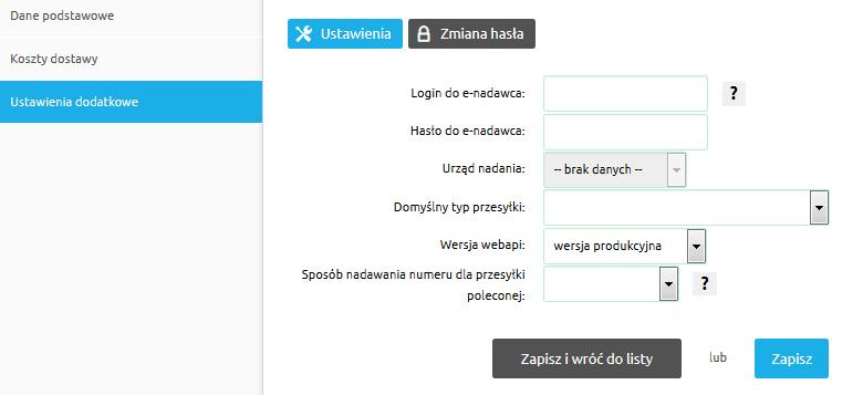 2e818fb9803203 Po lewej stronie ekranu wybierz zakładkę Ustawienia dodatkowe i podaj swój  login oraz hasło dostępu do systemu E-Nadawca. Nie zapomnij wybrać z listy  ...