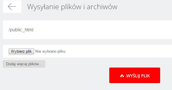 WebFTP - Wybrany katalog - Wgraj - Wysyłanie plików i archiwów - Wybierz plik, który chcesz wysłać na serwer