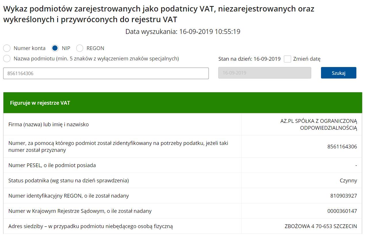 AZ.pl znajduje się na białej liście podatników VAT prowadzonej przez Ministerstwo Finansów.