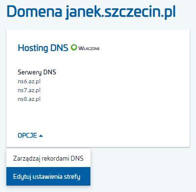 Jak zmienić ustawienia strefy DNS dla domeny (np. SOA)?