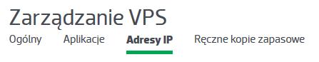 """Do czego służy podopcja menu """"Adresy IP""""?"""