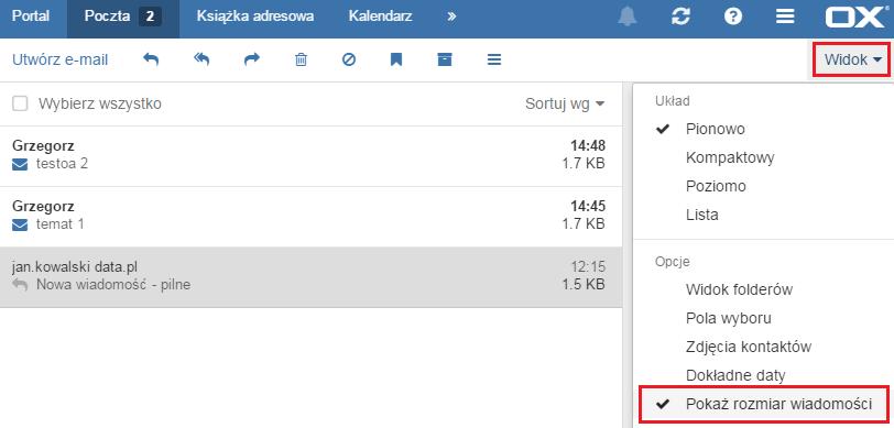 Wyświetlanie rozmiaru wiadomości e-mail w poczcie AZ.pl