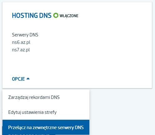 Jak wydelegować domenę na zewnętrzne DNS?