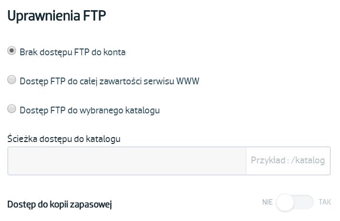 Jak utworzyć skrzynkę z dostępem do serwera FTP?