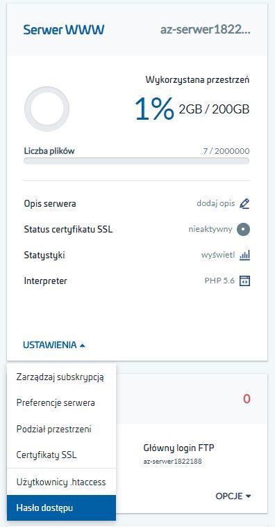 Jak zmienić hasło dostępu do usługi hostingu w AZ.pl?