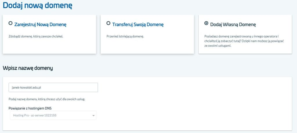 Delegacja domeny na serwery DNS AZ.pl