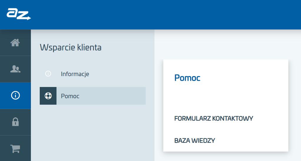 Formularz kontaktowy w Panelu klienta AZ.pl.