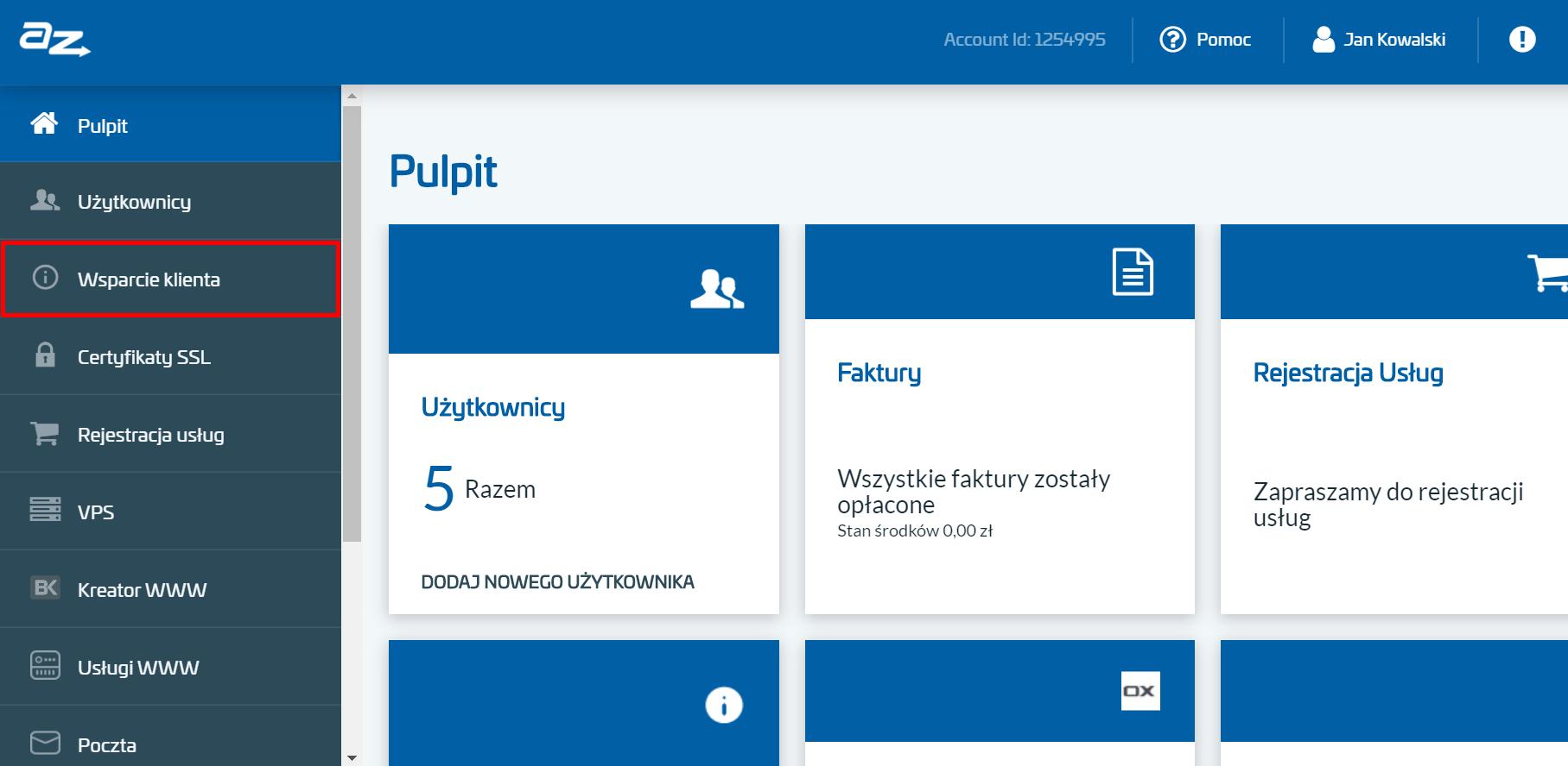 Po zalogowaniu do Panelu klienta AZ.pl, wybierz sekcję: Wsparcie klienta.