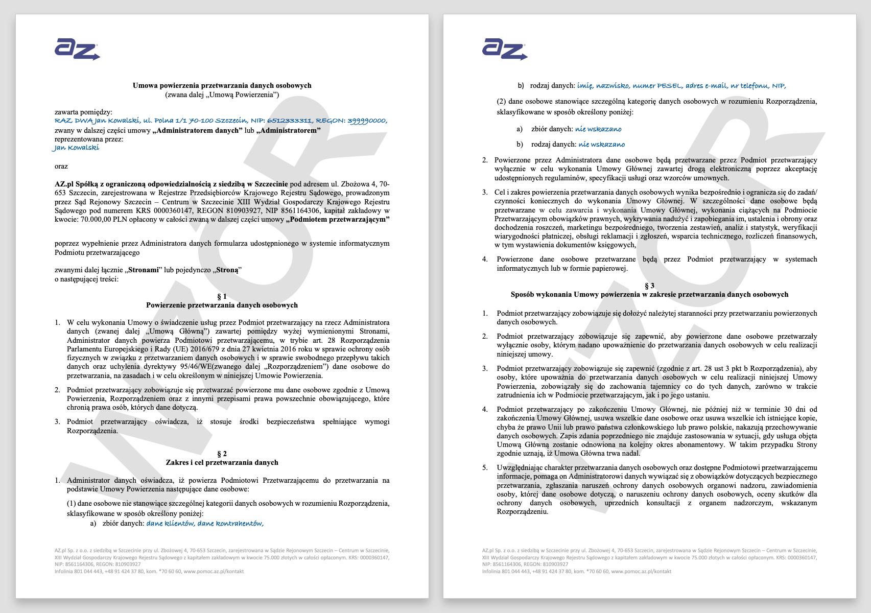 RODO - jak wyglądają przykładowe umowy powierzenia przetwarzania danych w AZ.pl.