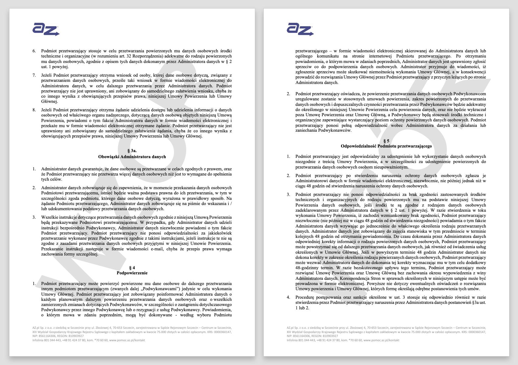 RODO - jak wygląda przykładowa umowa powierzenia przetwarzania danych w AZ.pl