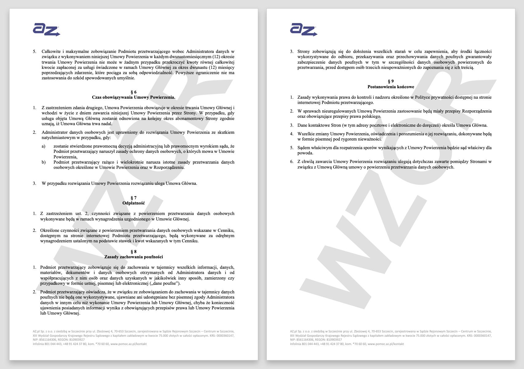 RODO - jak wygląda przykładowa umowa powierzenia przetwarzania danych w AZ.pl.